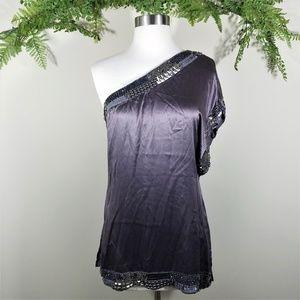 Bebe one shoulder embellished silk top